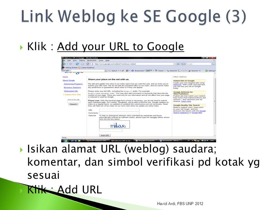Link Weblog ke SE Google (3)