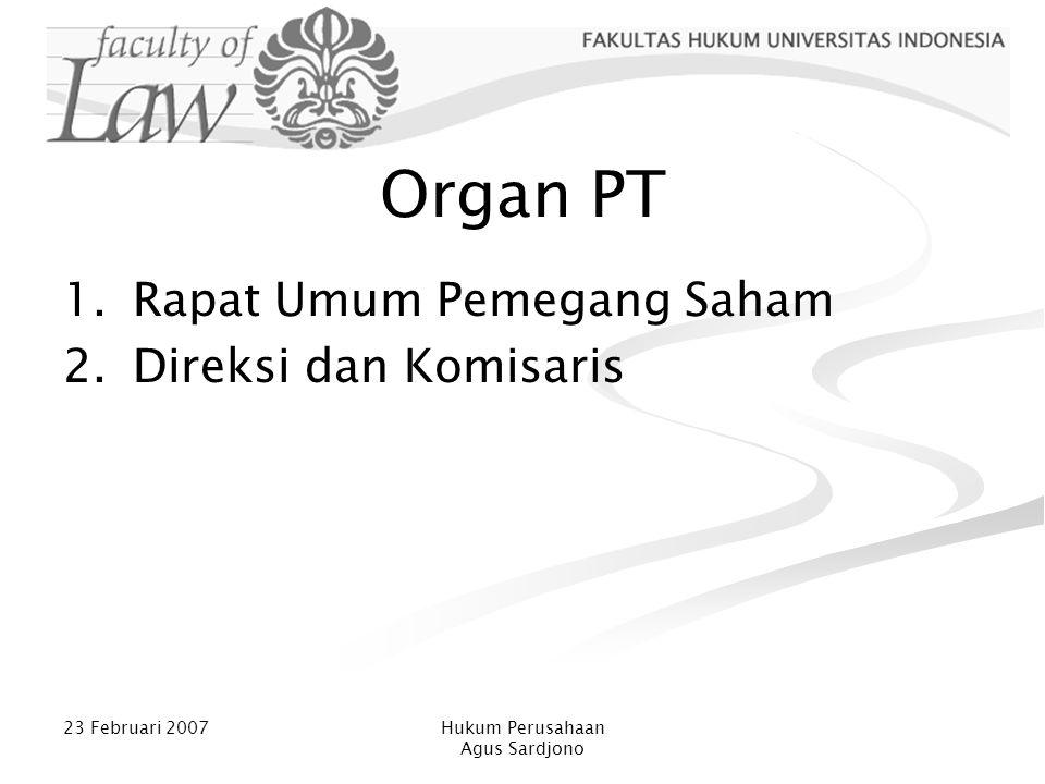 Organ PT Rapat Umum Pemegang Saham Direksi dan Komisaris