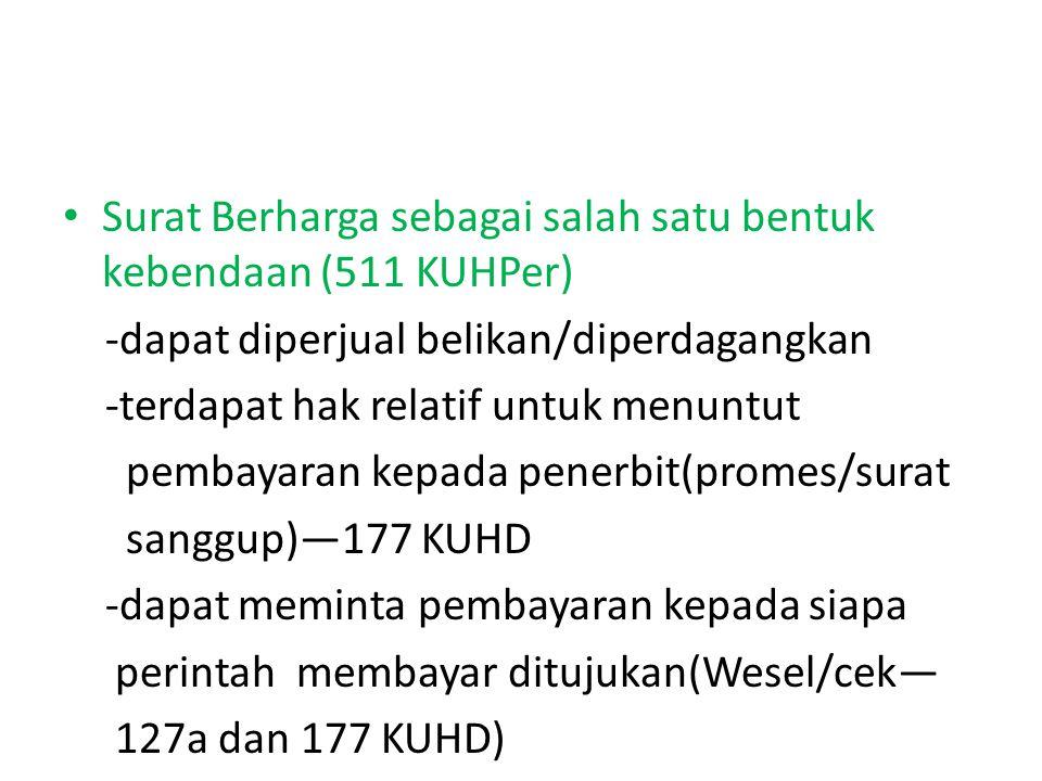 Surat Berharga sebagai salah satu bentuk kebendaan (511 KUHPer)