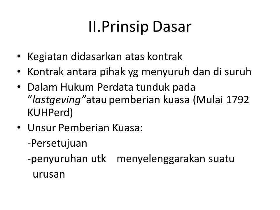 II.Prinsip Dasar Kegiatan didasarkan atas kontrak