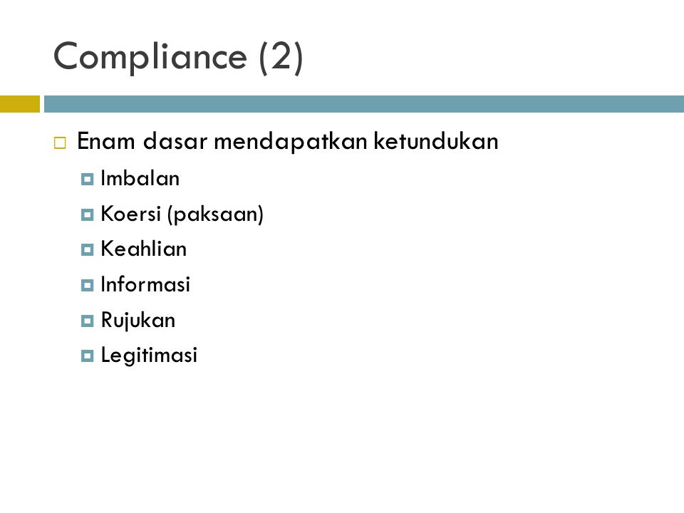 Compliance (2) Enam dasar mendapatkan ketundukan Imbalan