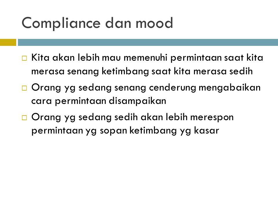 Compliance dan mood Kita akan lebih mau memenuhi permintaan saat kita merasa senang ketimbang saat kita merasa sedih.