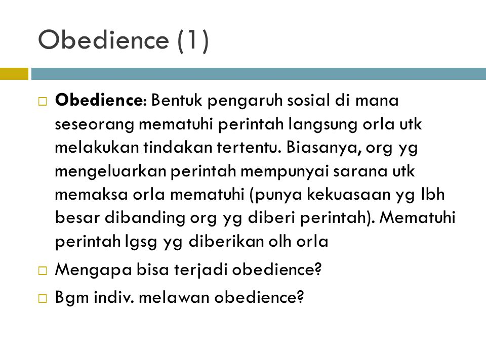 Obedience (1)