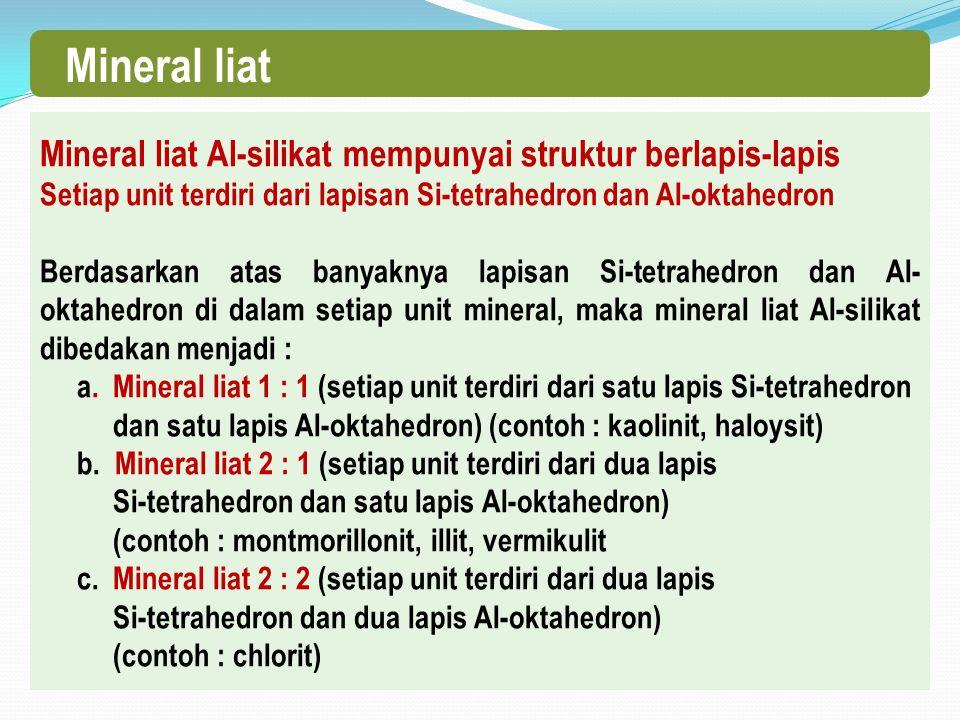 Mineral liat Mineral liat Al-silikat mempunyai struktur berlapis-lapis