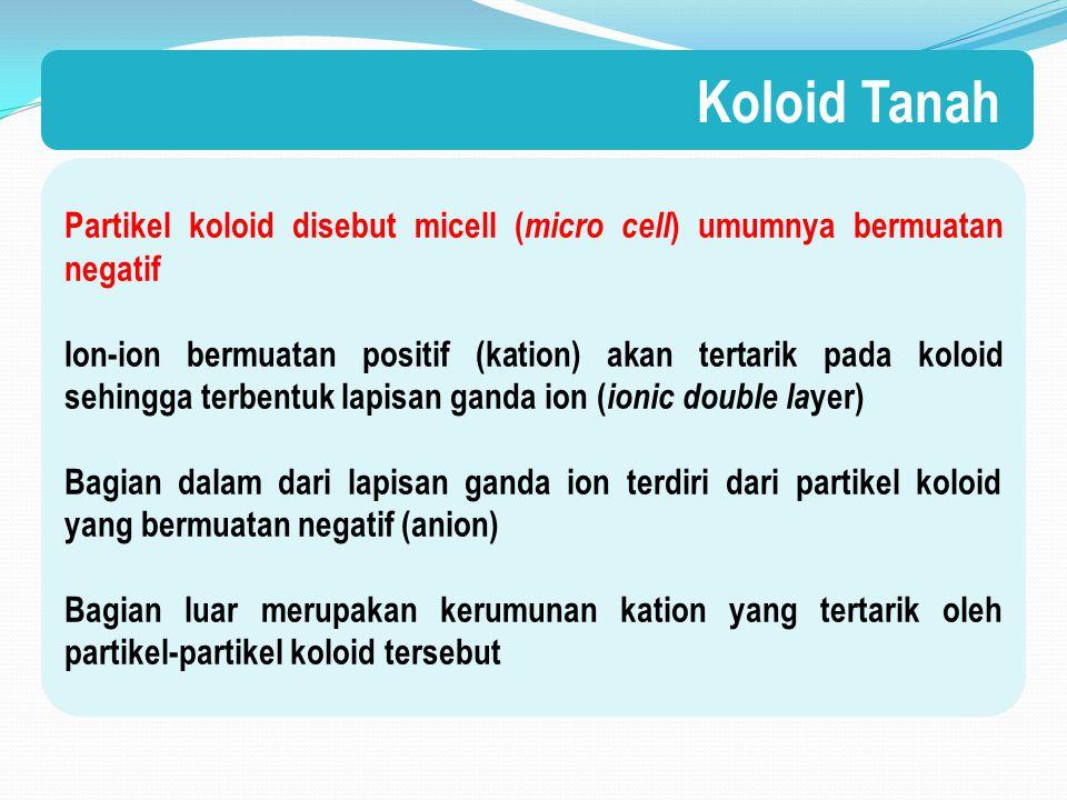 Koloid Tanah Partikel koloid disebut micell (micro cell) umumnya bermuatan negatif.