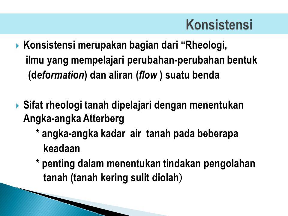 Konsistensi Konsistensi merupakan bagian dari Rheologi,