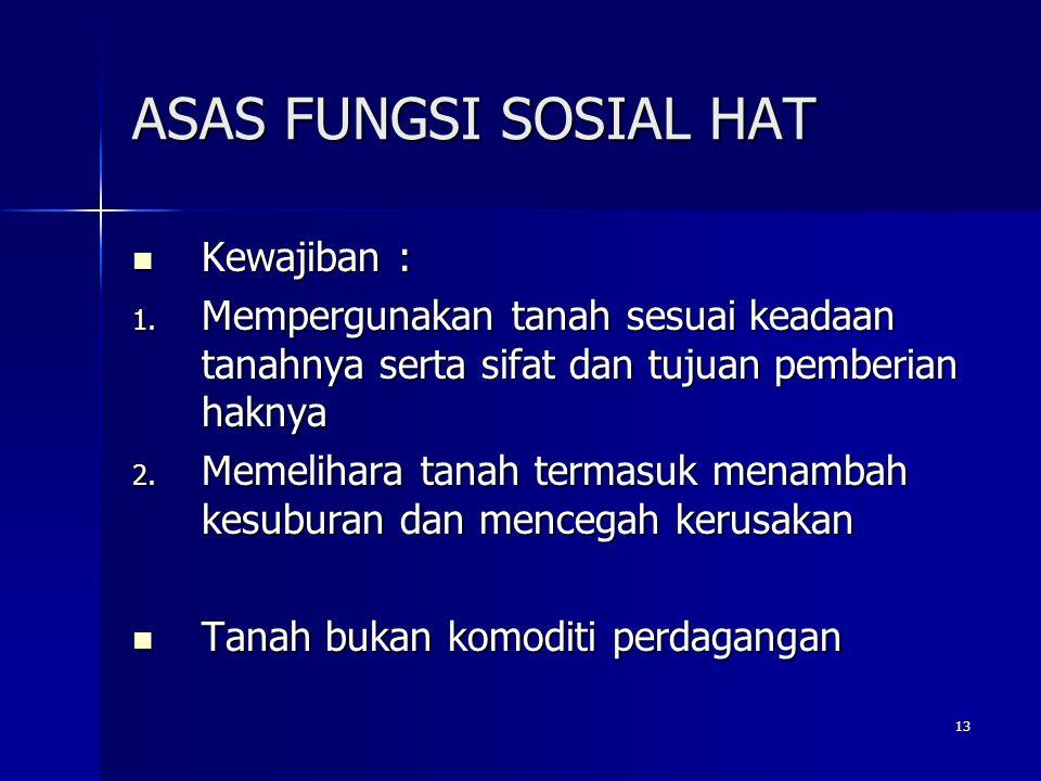 ASAS FUNGSI SOSIAL HAT Kewajiban :