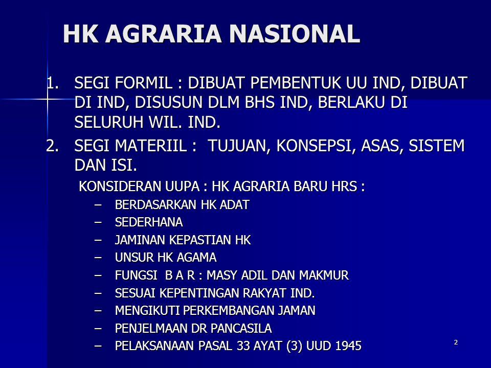 HK AGRARIA NASIONAL SEGI FORMIL : DIBUAT PEMBENTUK UU IND, DIBUAT DI IND, DISUSUN DLM BHS IND, BERLAKU DI SELURUH WIL. IND.