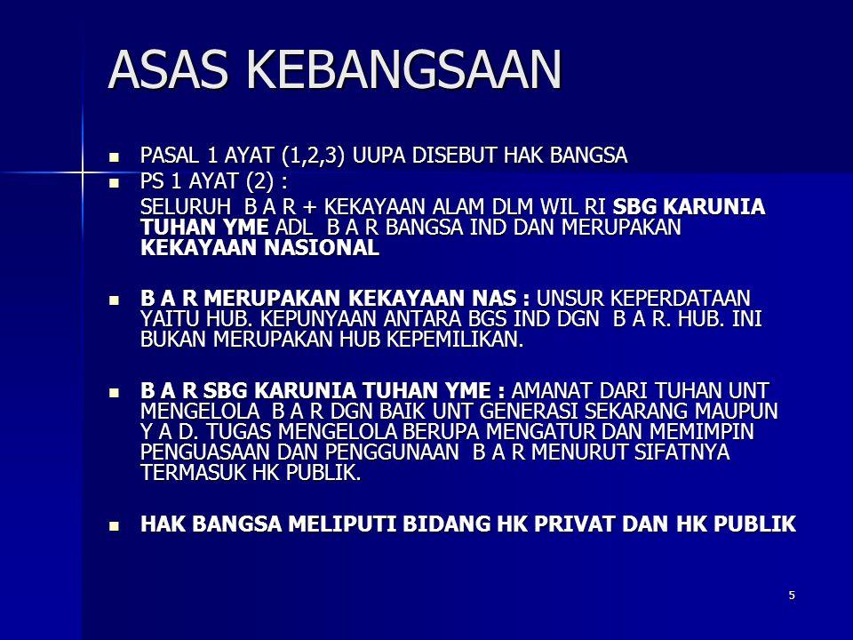ASAS KEBANGSAAN PASAL 1 AYAT (1,2,3) UUPA DISEBUT HAK BANGSA