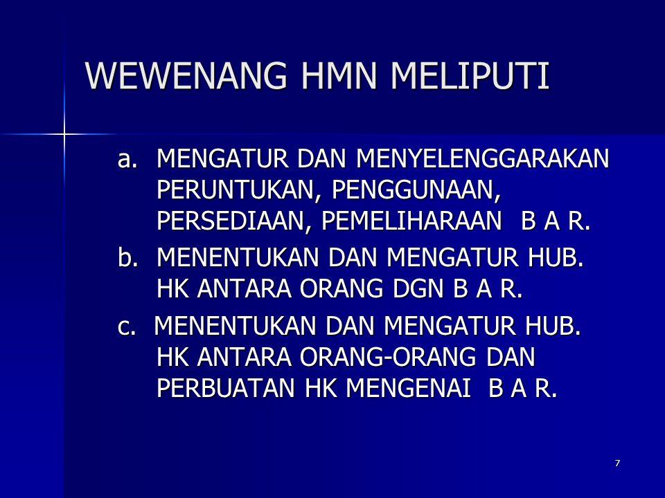WEWENANG HMN MELIPUTI MENGATUR DAN MENYELENGGARAKAN PERUNTUKAN, PENGGUNAAN, PERSEDIAAN, PEMELIHARAAN B A R.