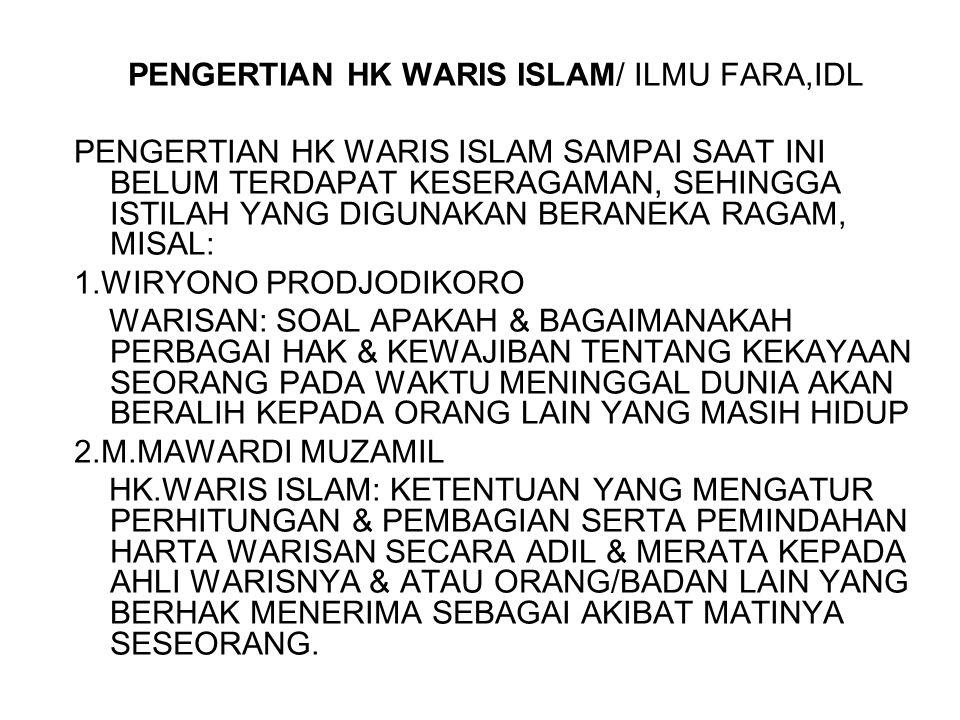 PENGERTIAN HK WARIS ISLAM/ ILMU FARA,IDL