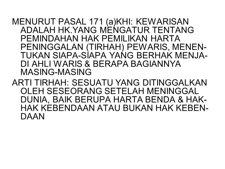MENURUT PASAL 171 (a)KHI: KEWARISAN ADALAH HK