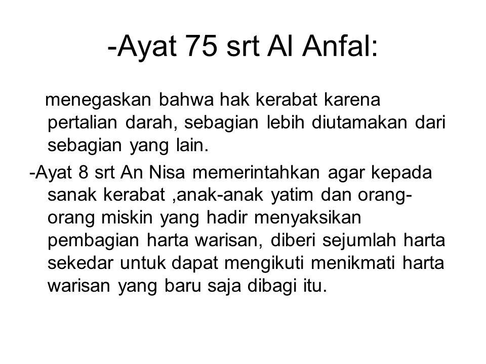 -Ayat 75 srt Al Anfal: menegaskan bahwa hak kerabat karena pertalian darah, sebagian lebih diutamakan dari sebagian yang lain.