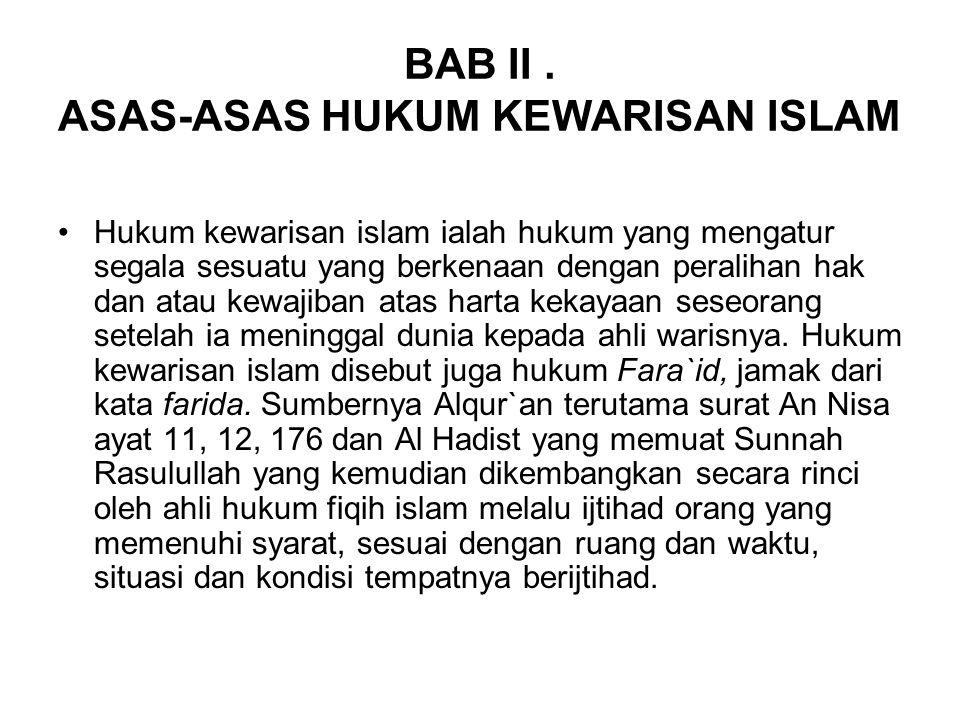 BAB II . ASAS-ASAS HUKUM KEWARISAN ISLAM