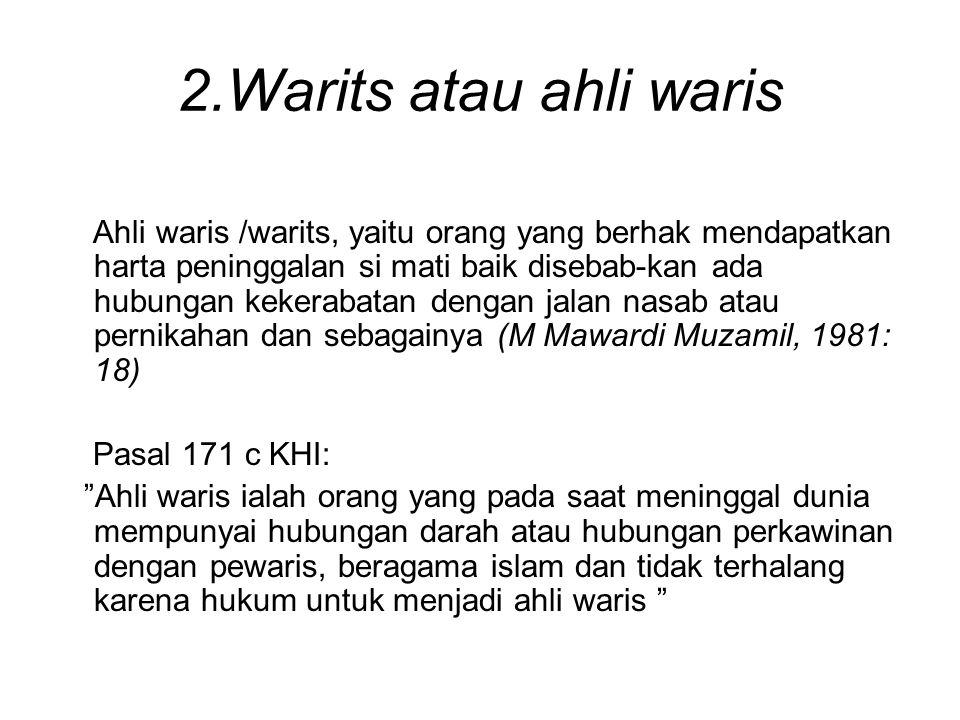2.Warits atau ahli waris