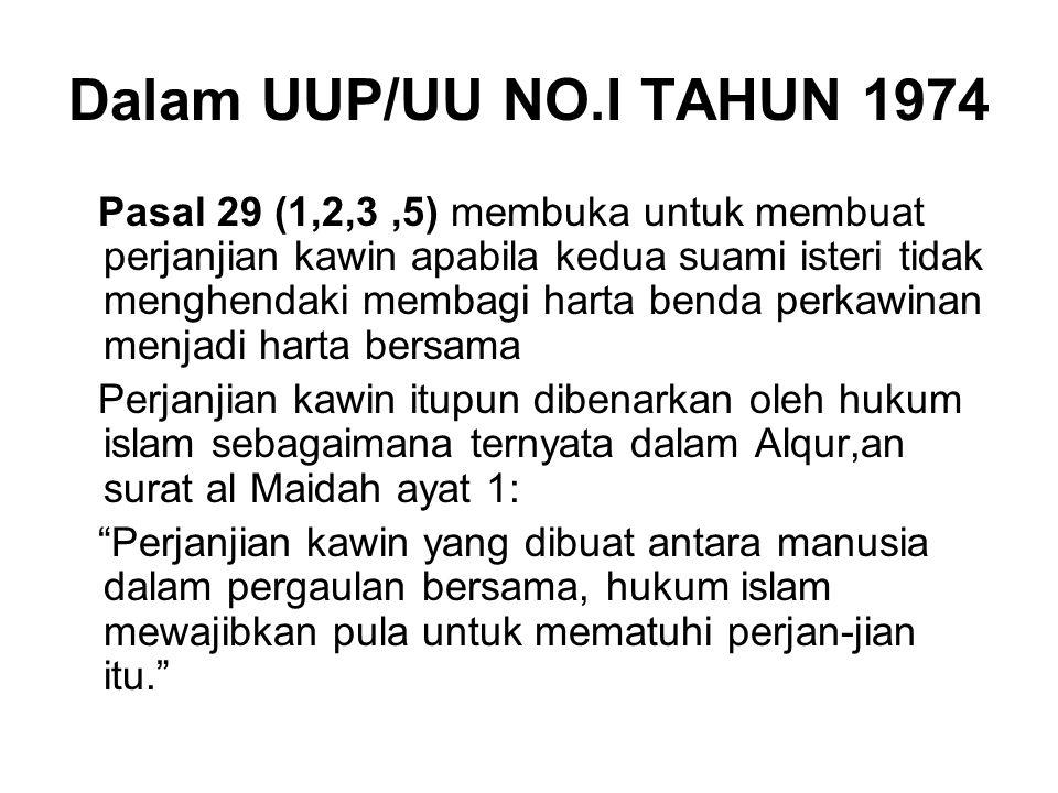 Dalam UUP/UU NO.I TAHUN 1974