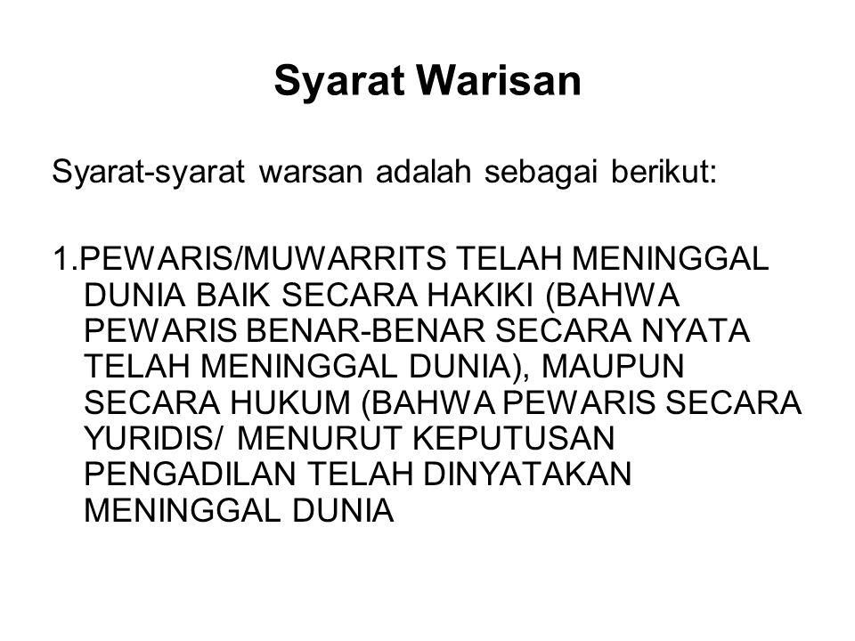 Syarat Warisan Syarat-syarat warsan adalah sebagai berikut:
