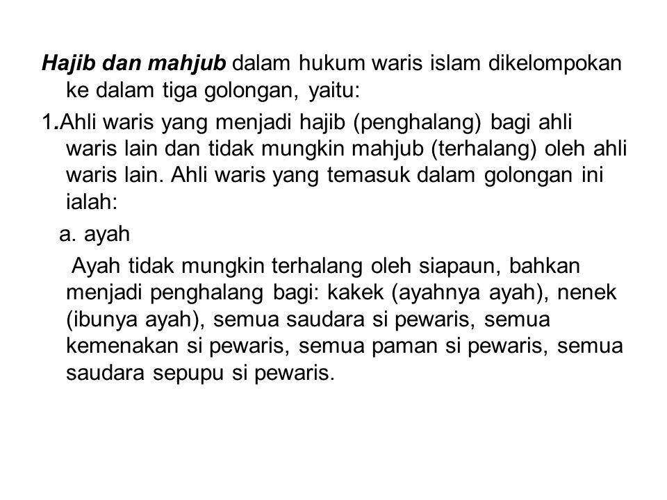 Hajib dan mahjub dalam hukum waris islam dikelompokan ke dalam tiga golongan, yaitu:
