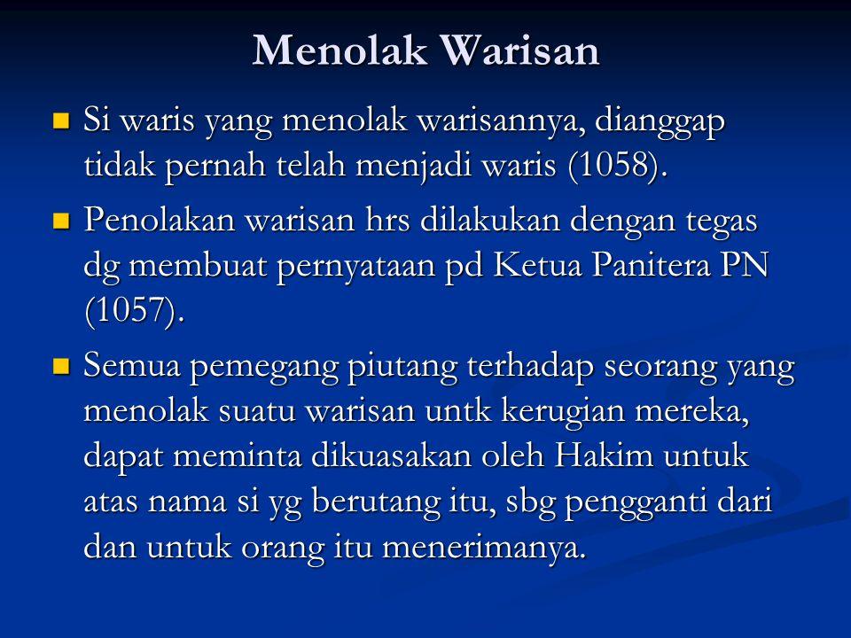 Menolak Warisan Si waris yang menolak warisannya, dianggap tidak pernah telah menjadi waris (1058).