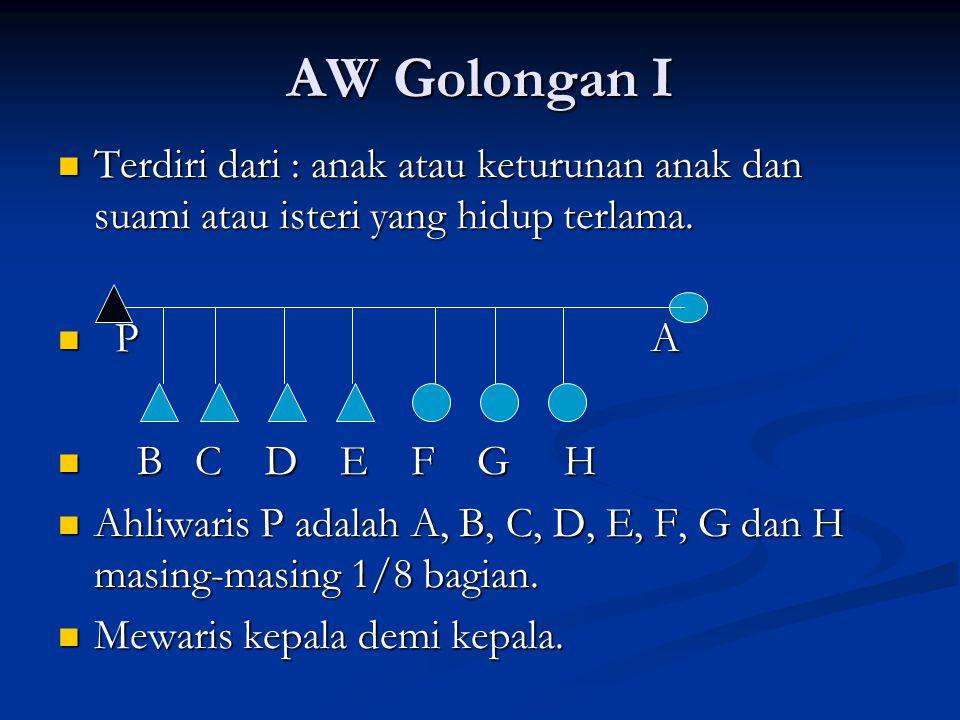 AW Golongan I Terdiri dari : anak atau keturunan anak dan suami atau isteri yang hidup terlama. P A.