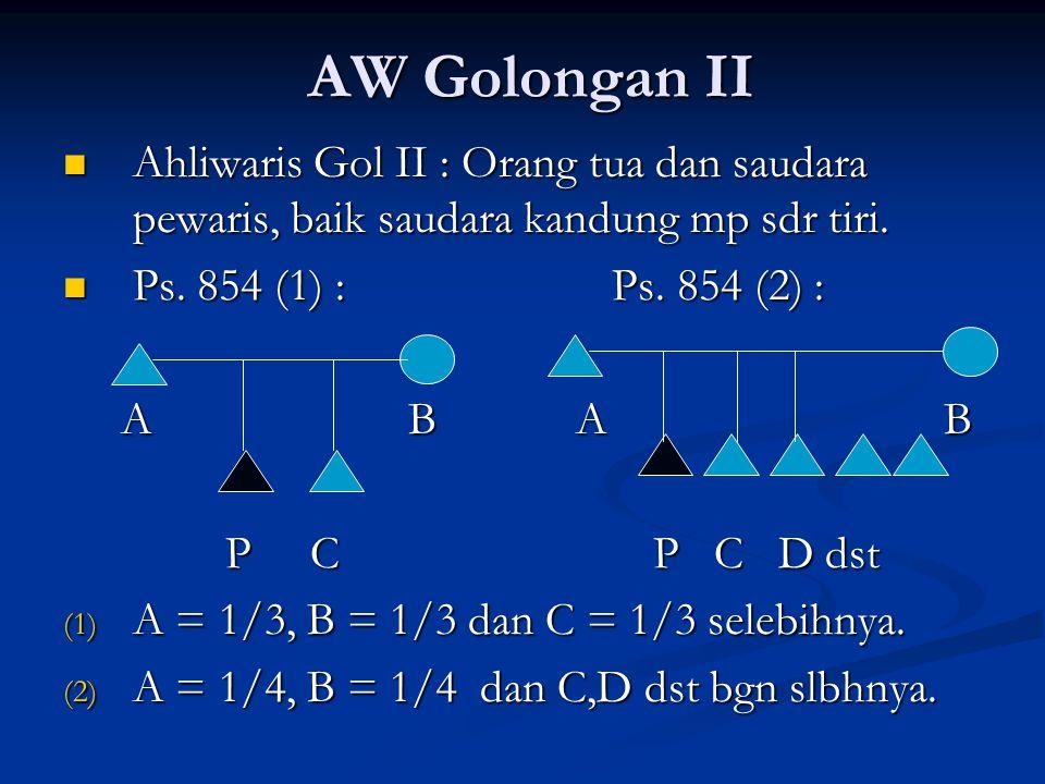 AW Golongan II Ahliwaris Gol II : Orang tua dan saudara pewaris, baik saudara kandung mp sdr tiri. Ps. 854 (1) : Ps. 854 (2) :