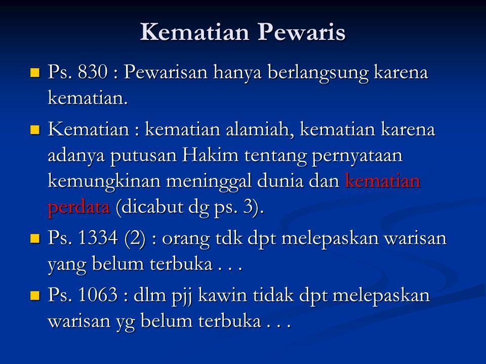 Kematian Pewaris Ps. 830 : Pewarisan hanya berlangsung karena kematian.