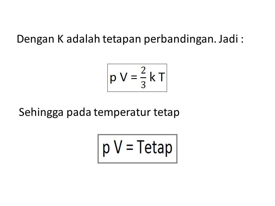 Dengan K adalah tetapan perbandingan. Jadi :