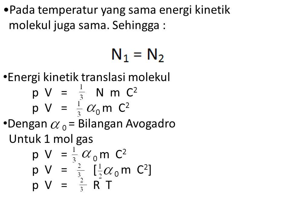 Pada temperatur yang sama energi kinetik