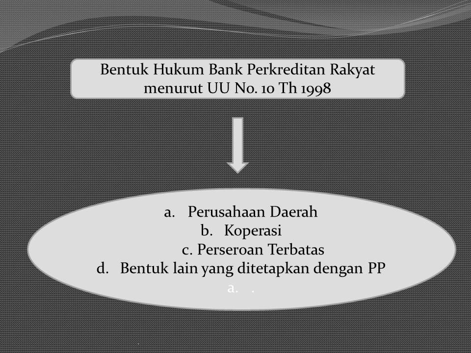 Bentuk Hukum Bank Perkreditan Rakyat menurut UU No. 10 Th 1998