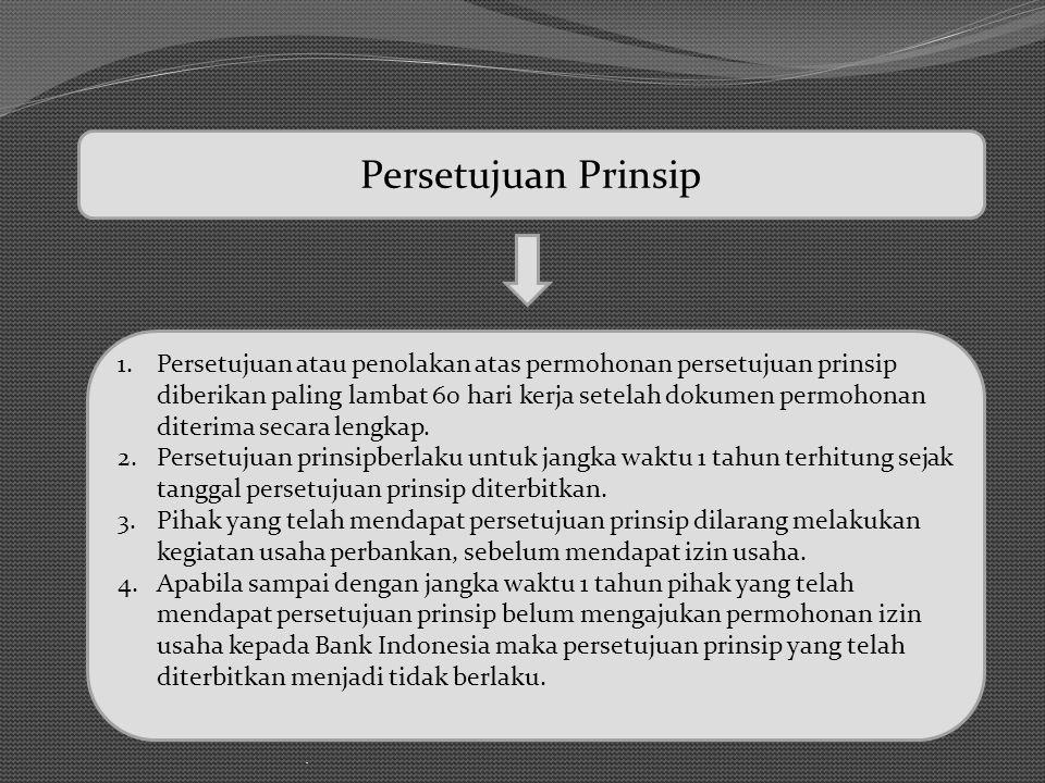 Persetujuan Prinsip Persetujuan atau penolakan atas permohonan persetujuan prinsip.