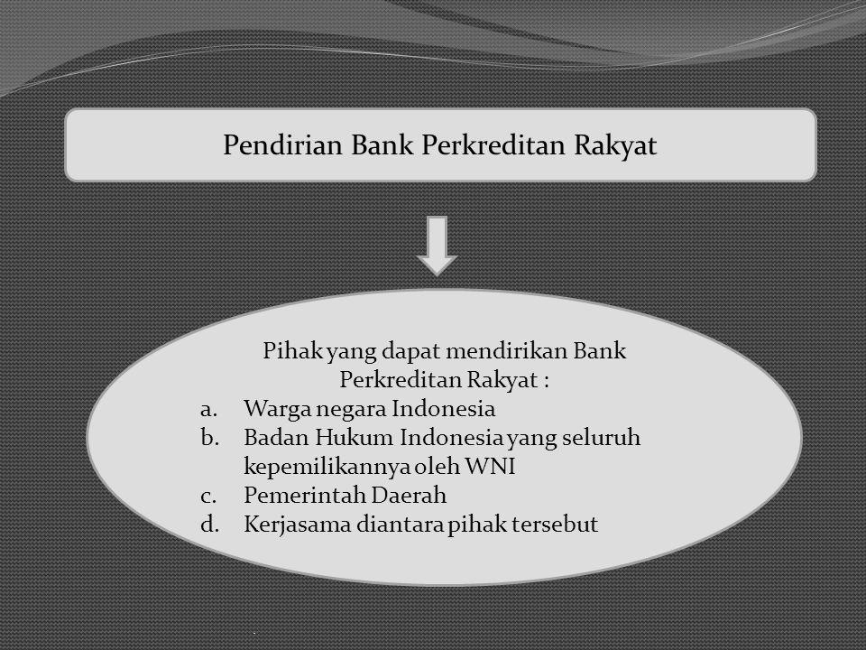 Pendirian Bank Perkreditan Rakyat