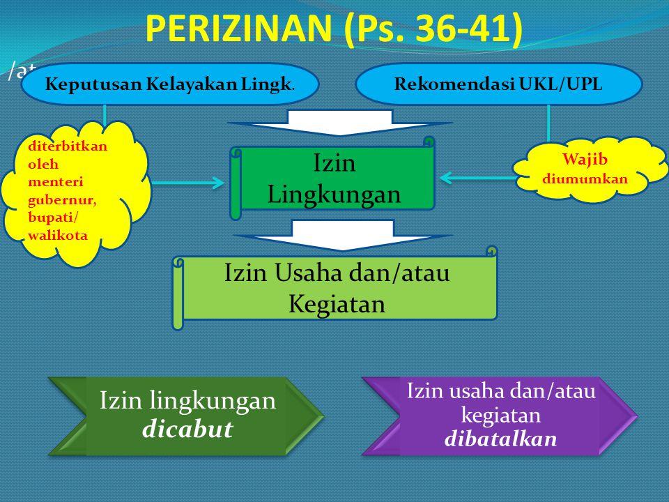PERIZINAN (Ps. 36-41) Izin Lingkungan Izin Usaha dan/atau Kegiatan