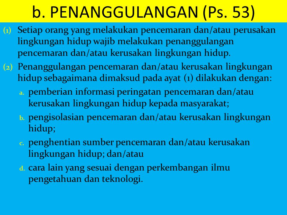 b. PENANGGULANGAN (Ps. 53)