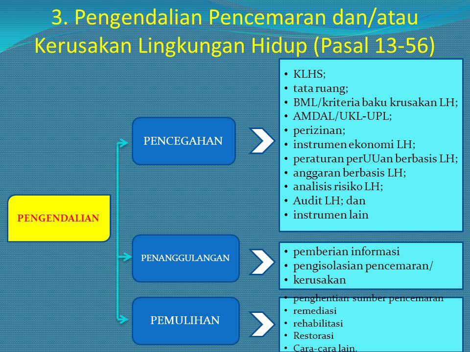 3. Pengendalian Pencemaran dan/atau Kerusakan Lingkungan Hidup (Pasal 13-56)