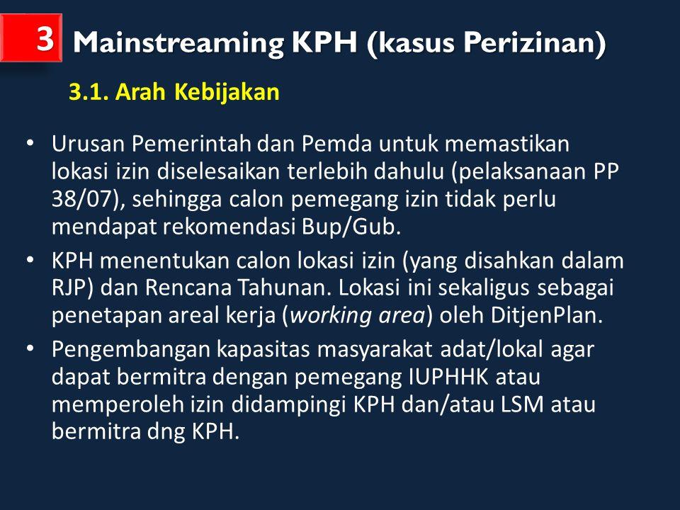 3 Mainstreaming KPH (kasus Perizinan) 3.1. Arah Kebijakan
