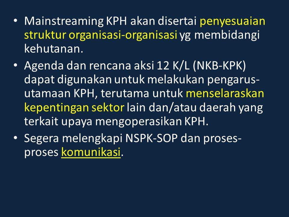 Mainstreaming KPH akan disertai penyesuaian struktur organisasi-organisasi yg membidangi kehutanan.