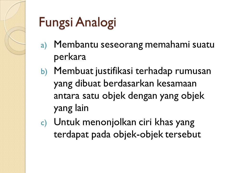 Fungsi Analogi Membantu seseorang memahami suatu perkara