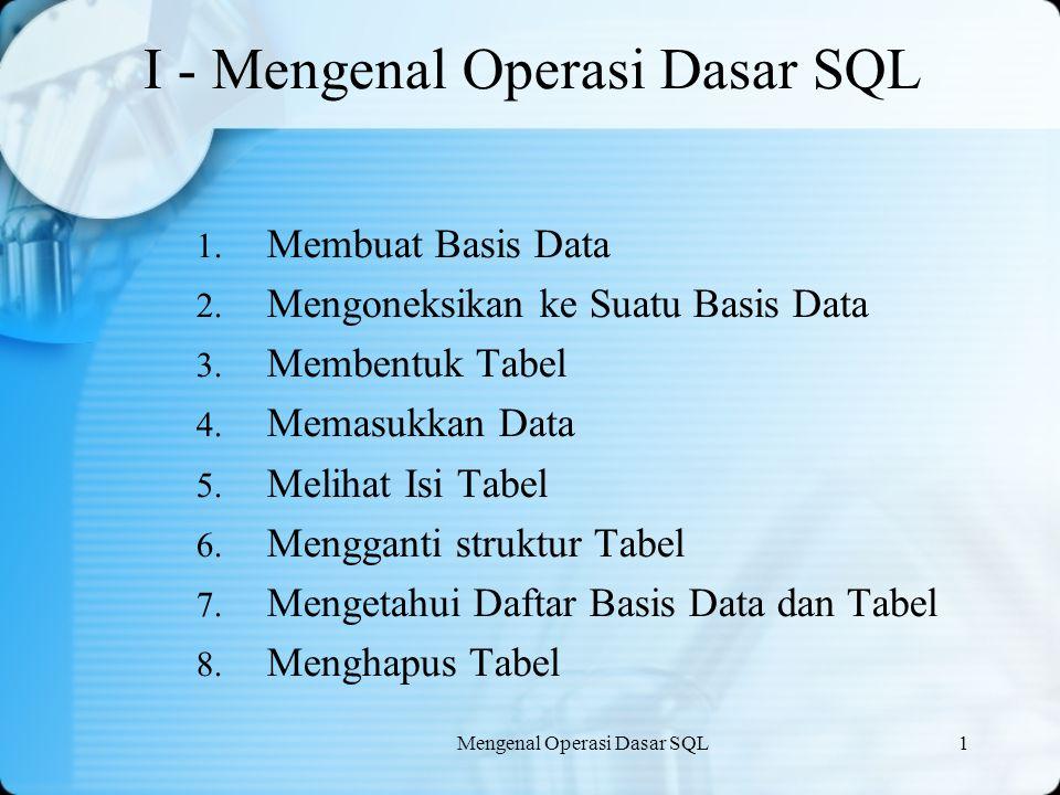 I - Mengenal Operasi Dasar SQL
