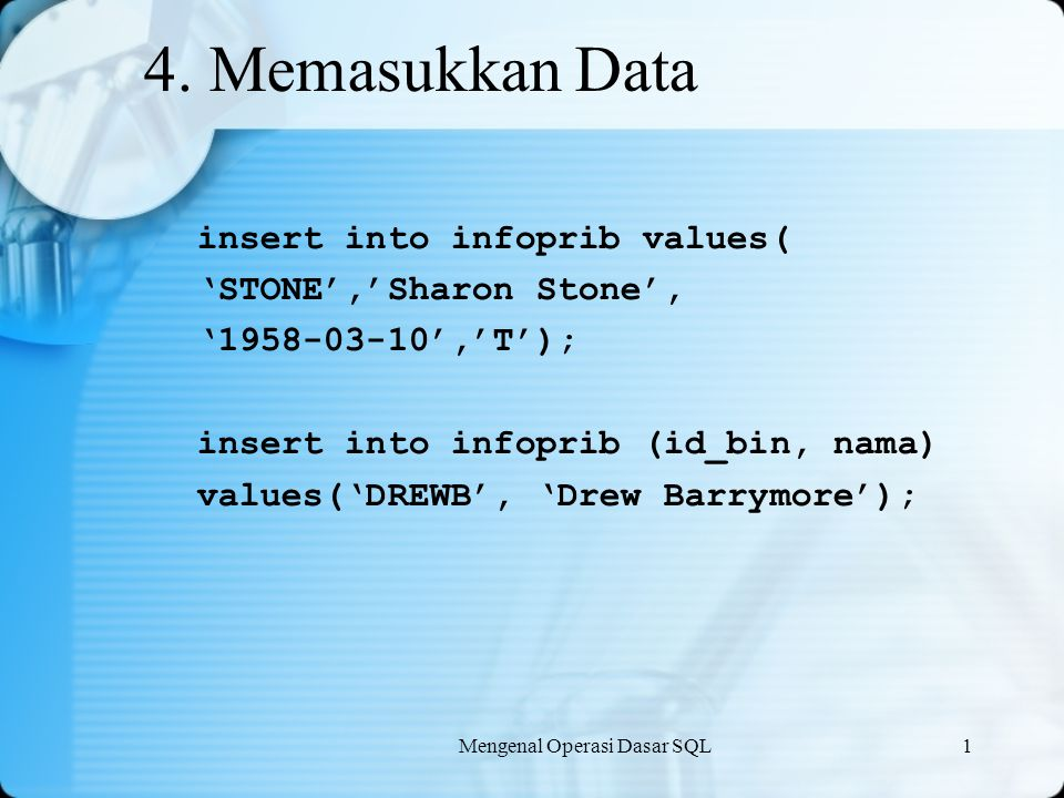 4. Memasukkan Data insert into infoprib values(