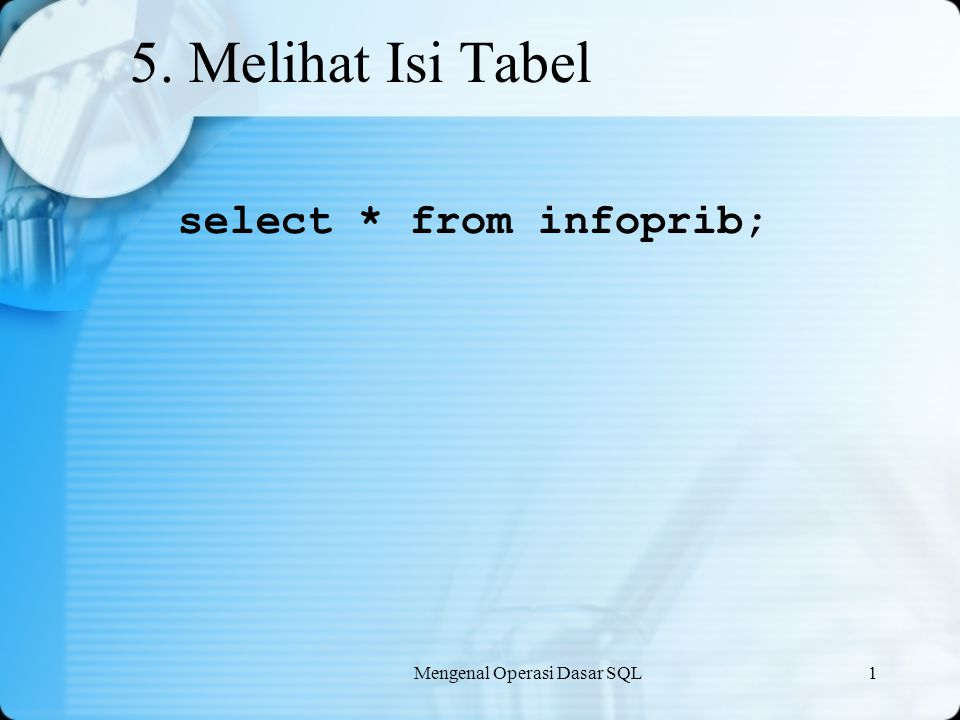 5. Melihat Isi Tabel select * from infoprib;