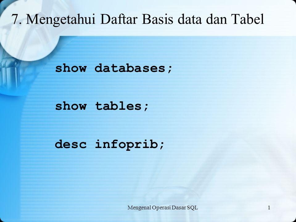 7. Mengetahui Daftar Basis data dan Tabel