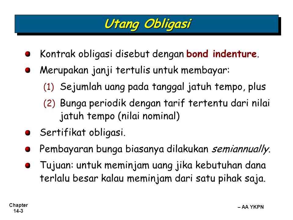 Utang Obligasi Kontrak obligasi disebut dengan bond indenture.