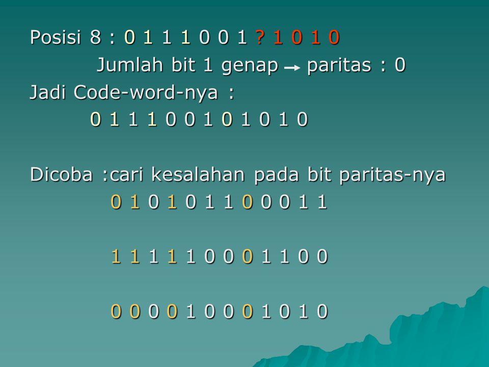 Posisi 8 : 0 1 1 1 0 0 1 1 0 1 0 Jumlah bit 1 genap paritas : 0. Jadi Code-word-nya : 0 1 1 1 0 0 1 0 1 0 1 0.