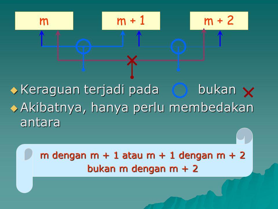 m dengan m + 1 atau m + 1 dengan m + 2