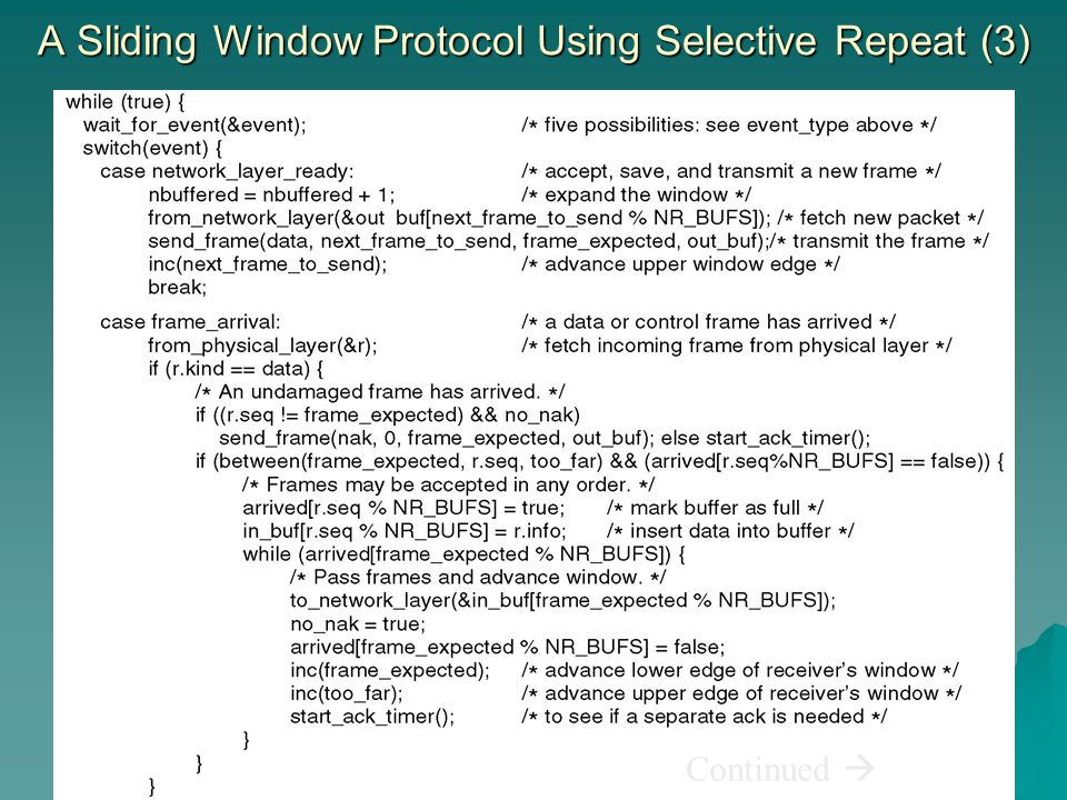 A Sliding Window Protocol Using Selective Repeat (3)