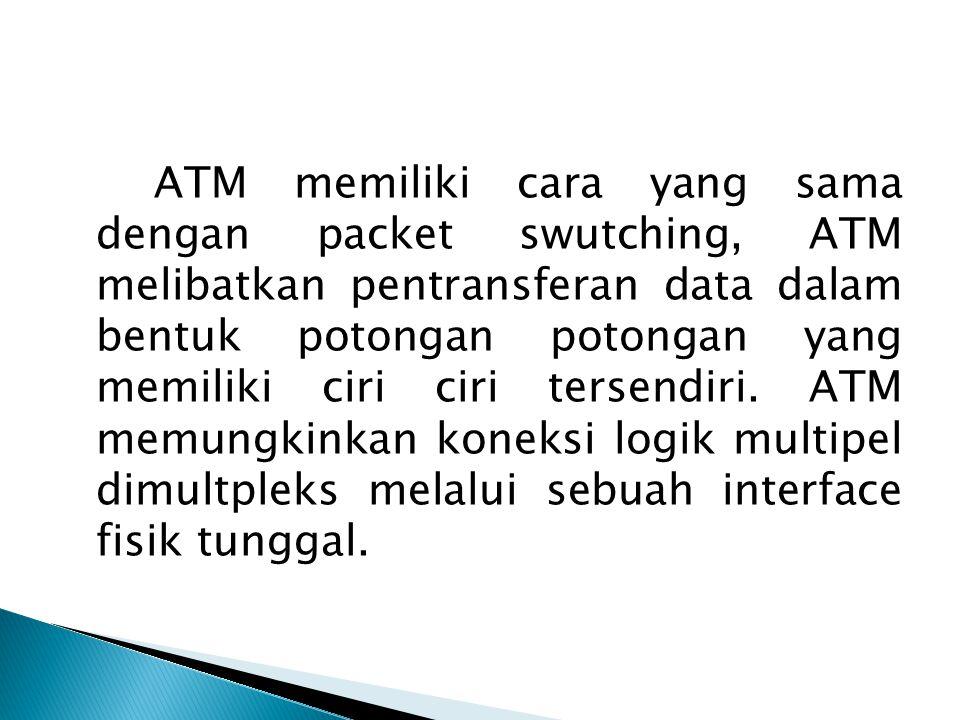 ATM memiliki cara yang sama dengan packet swutching, ATM melibatkan pentransferan data dalam bentuk potongan potongan yang memiliki ciri ciri tersendiri. ATM memungkinkan koneksi logik multipel dimultpleks melalui sebuah interface fisik tunggal.