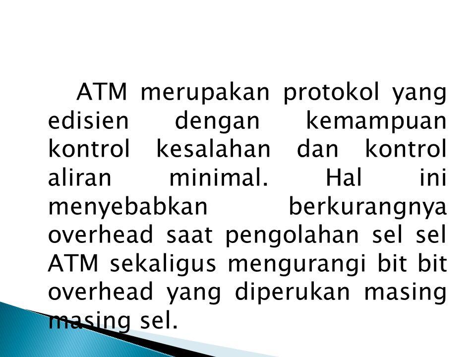 ATM merupakan protokol yang edisien dengan kemampuan kontrol kesalahan dan kontrol aliran minimal. Hal ini menyebabkan berkurangnya overhead saat pengolahan sel sel ATM sekaligus mengurangi bit bit overhead yang diperukan masing masing sel.