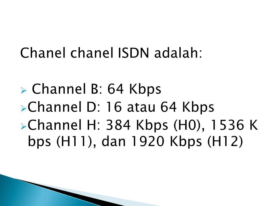 Chanel chanel ISDN adalah: