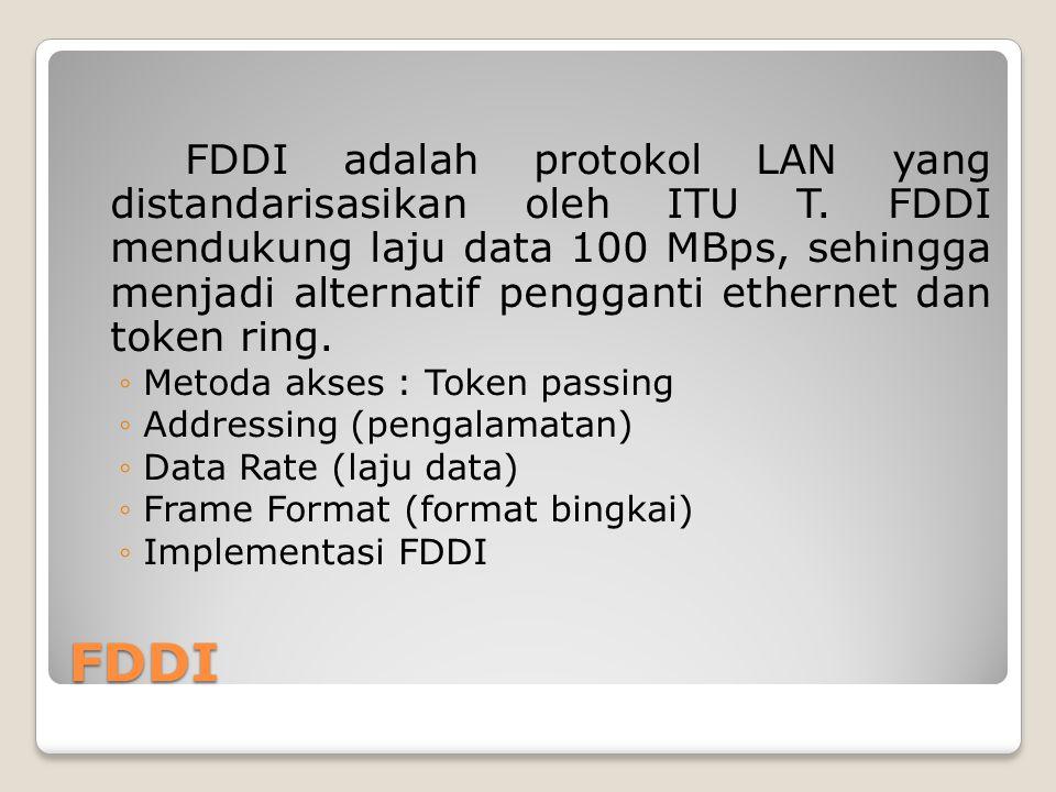 FDDI adalah protokol LAN yang distandarisasikan oleh ITU T