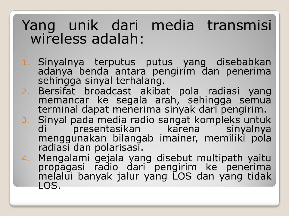 Yang unik dari media transmisi wireless adalah: